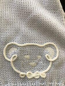 """Italian NWT 100% Wool Blue Bear Scarf 5"""" X 34"""""""