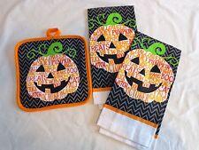 HALLOWEEN KITCHEN SET 3 Pieces 2 Towels Pot Holder PUMPKIN Jack O Lantern Orange
