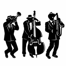 3 GREAT 20'S GANGSTER JAZZ MUSICIAN SILHOUETTES PARTY DECORATIONS
