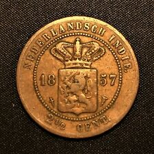 1857 Netherlands Indies 2-1/2 Cent Coin, KM# 308, F/VF