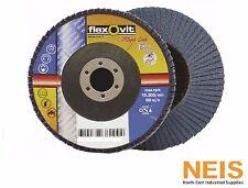 Zirconia Flap Disc - 127mm X 22mm - 80 Grit - Flexovit Megaline Blue