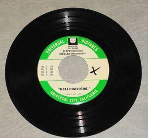 HELLFIGHTERS orig 1968 John WAYNE action film set of radio ad spots on 45 RPM