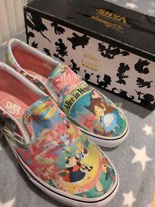 Disney Vans trainers size UK 7/ US 9.5  Alice in Wonderland, pink, slip on