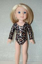 """Leotard for 14"""" Wellie Wishers Doll Clothes by TKCT Leopard Sparkle dance"""