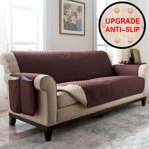 Quilted Sofa Cover Loveseat Chair Couch Slipcover Pet Stretch Cushion Protector