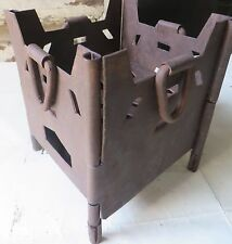 1900s Iron Fire Pit Coal burning Cooking implement Outdoor Folding Sigri  India