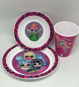 Girls Childrens LOL Surprise 3 Piece Dinner Breakfast Set Plate Bowl Tumbler
