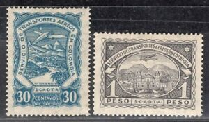 COLOMBIA SCADTA 1923/8 AIR MAIL STAMP Sc. # C 42 AND C 47 MH