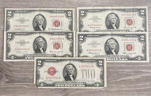 1928 1953 1963 Red Seal $2 Dollar Bill Legal Tender Note ~ Lot of 5 (LOT-106)