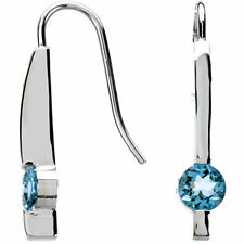 AQUAMARINE and 14K White Gold Contemporary Earrings