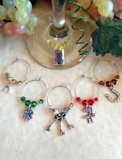 Set of 6 Lucky Card Game Night Wine Glass Charms ~ Inexpensive Holiday Gift Idea