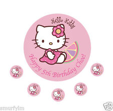 "HELLO KITTY BIRTHDAY PARTY CAKE  TOPPER EDIBLERICE PAPER 7.5""  PERSONALISED NC"