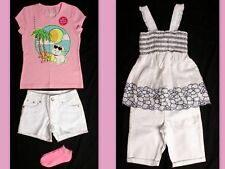 NWT girls size 6 Justice pink Lulu tee/socks or blue smock top white jean shorts