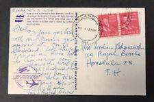 1954 Duke Kahanamoku to Nadine Postcard United Air Lines Cleveland, Ohio