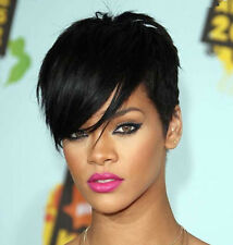 African American Rihanna Short Chic Cut Synthetic Hair Wigs Stright Black Color