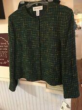 NEW NWT JONES NEW YORK dark Green Designer 2pc Suit Jkt 16 Skirt 14W Rare $345.