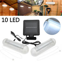 Solar LED Schuppen Licht Garten Hof Wand-Lampe Outdoor 1 Holz + 2 Leuchten-