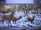 """Vintage ( 2 ) Stag Deer Elk Snow Woods Wall Tapestry Rug Lodge Decor 19"""" x 37"""""""