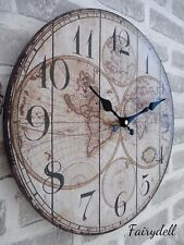 LARGE SHABBY CHIC VINTAGE MAP ATLAS ROUND WALL CLOCK  34cm
