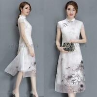 HOT Vintage Womens Chinese Style Silk QiPao Cheongsam Evening Party Long Dress W