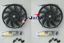 "2x7"" inch Universal Slim Fan Push Pull Electric Radiator Cooling 12V Mount Kit"