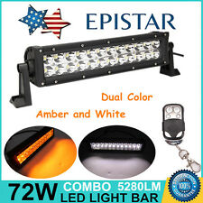 """14"""" 72W LED Light Bar Combo Amber/White Dual Color Offroad SUV Jeep Driving Lamp"""