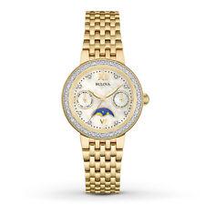 New Bulova 98R224 Diamond Dial/Bezel Moon Phase Gold Tone Stainless Ladies Watch