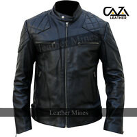 Mens David Beckham Real Sheep Leather Jacket Black Biker Vintage Slim Fit S - 3X