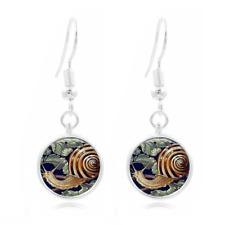 Snail Shell Art Tibet Silver Dome Photo 16MM Glass Cabochon Long Earrings #467