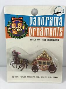 Vintage WALCO 1974 Panorama Ornaments Christmas Carriage Pulled By Horses new