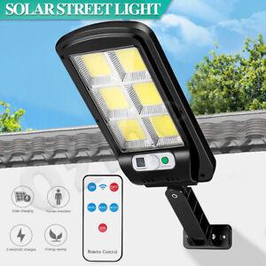 Solar Street LED Light Motion Sensor Remote Outdoor Garden Yard Flood Down Lamp