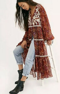 NWT Free People Call On Me Embroidered Maxi Top Tunic  XS $228