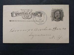 Georgia: Henderson 1885 Postal Card, DPO Houston Co to Syracuse, NY
