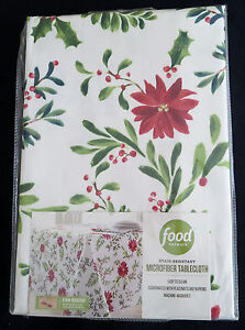 "Food Network Poinsettias Holly Pine 70"" ROUND Tablecloth & Set of 4 NAPKINS NWT"