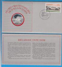 Enveloppe Timbre-Médaille en argent Belles voitures DELAHAYE  TYPE 135M