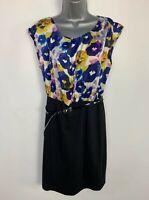 BNWOT WOMENS M&CO BLUE&BLACK SMART/CASUAL SLEEVELESS BELT SHIFT DRESS SIZE UK 14