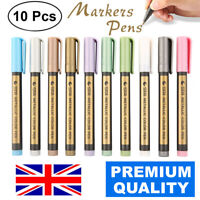 10PCS WATERPROOF METALIC PAINT SILVER MARKER PENS SHEEN GLITTER ARTS DIY KIT SET