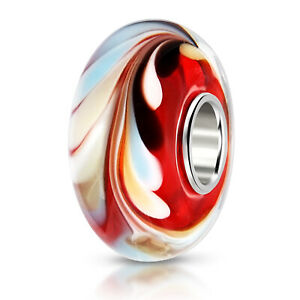 MATERIA Muranoglas Glas Perle Wirbel 925 Silber rot blau für Beads Armband Kette