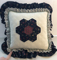 Handmade Quilted Pillow West Virginia Mountain Made Navy Red Floral Lace