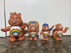 Lot Of 4 Cheer CARE BEARS 1984 KENNER 1 POSEABLE PVC FIGURINE 80s, 3 Miniatures