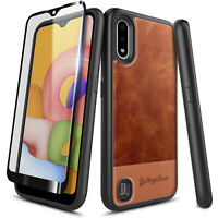 For Samsung Galaxy A01 Case Shockproof Leather Phone Cover + Tempered Glass