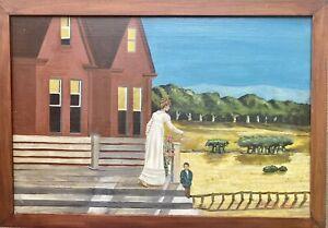 Edward Hopper Painting - Realism, landscape with figures. Original Oil on board.