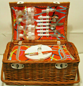 Wicker Picnic Basket for 4 Willow Insulated Cooler  with Cups, Plates, Utensils