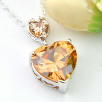 Multi Stones Heart Natural Morganite Gems Silver Necklace Pendant With Chain