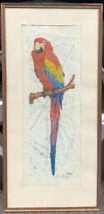 Original MARTIN ERICH PHILLIP 'Parrot' Color Arts & Crafts Bird Woodblock Print