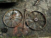"Vtg Pair Antique 24"" Cast Iron Spoke Farm Wagon Wheels Industrial Hit Miss Cart"