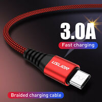 3A Nylon Braided Micro USB Data&Sync Charger Cable QC3.0 Fast For Android Phones