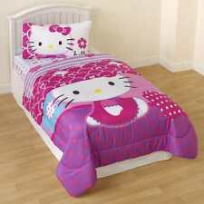 Hello Kitty Reversible Comforter Twin Beautiful Bedding Set Girls New