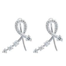 Upscale Cross Gift Round Cut White Topaz Gemstone 925 Silver Clip Hook Earrings