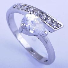 Vintage Dazzling Silver White Gold Filled Cubic Zirconia Womens Ring Size 8